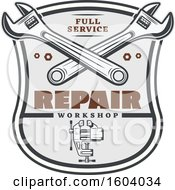 Clipart Of A Repair Workshop Design With Wrenches And A Vise Royalty Free Vector Illustration by Vector Tradition SM