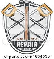 Clipart Of A Repair Service Design With A Hammer And Saws Royalty Free Vector Illustration