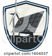 Clipart Of A Wind And Solar Electrical Design Royalty Free Vector Illustration
