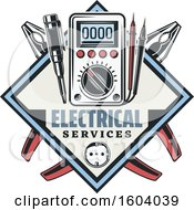 Clipart Of A Diamond Electrical Design Royalty Free Vector Illustration