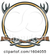 Clipart Of A Hunting Rifle And Antlers Design Royalty Free Vector Illustration