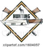 Clipart Of A Hunting Knife Deer And Rifle Diamond Design Royalty Free Vector Illustration