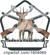 Clipart Of A Buck Deer And Hunting Rifles Design Royalty Free Vector Illustration by Vector Tradition SM