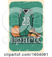 Poster, Art Print Of Vintage Basketball Design With A Jersey And Shoes