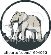 Clipart Of A Walking Elephant And Circle Design Royalty Free Vector Illustration by Vector Tradition SM