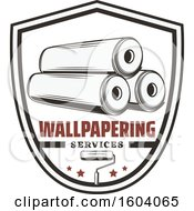 Clipart Of A Wallpapering Services Shield Design Royalty Free Vector Illustration