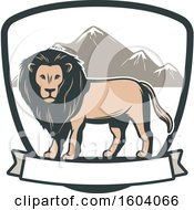Clipart Of A Male Lion And Shield Design Royalty Free Vector Illustration