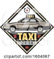 Clipart Of A Taxi Station Diamond Design Royalty Free Vector Illustration