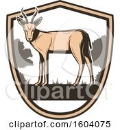 Wild Antelope And Shield Design