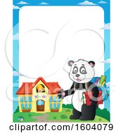 Clipart Of A Border Of A Student Panda By A School Royalty Free Vector Illustration by visekart