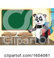 Clipart Of A Student Panda By A Chalkboard Royalty Free Vector Illustration by visekart