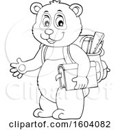 Clipart Of A Lineart Student Panda Royalty Free Vector Illustration by visekart