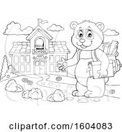 Clipart Of A Lineart Student Panda By A School Royalty Free Vector Illustration by visekart