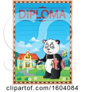 Clipart Of A Diploma Certificate Of A Student Panda By A School Royalty Free Vector Illustration