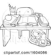 Poster, Art Print Of Lineart School Desk
