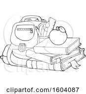 Poster, Art Print Of Lineart Bag With Books And An Apple