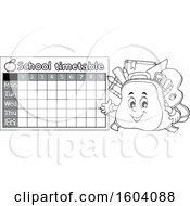 Clipart Of A Grayscale School Timetable With A Bag Mascot Royalty Free Vector Illustration