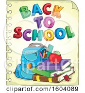 Clipart Of A Book Bag With Back To School Text On Ruled Paper Royalty Free Vector Illustration