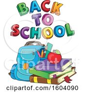 Clipart Of A Book Bag And Supplies With Back To School Text Royalty Free Vector Illustration