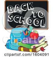 Clipart Of A Book Bag With A Back To School Blackboard Royalty Free Vector Illustration
