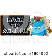 Clipart Of A Bag Mascot Presenting A Back To School Black Board Royalty Free Vector Illustration