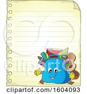Clipart Of A School Bag Mascot On A Sheet Of Ruled Paper Royalty Free Vector Illustration