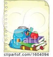 Clipart Of A School Bag On A Sheet Of Ruled Paper Royalty Free Vector Illustration