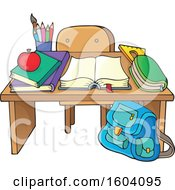 Clipart Of A School Desk Royalty Free Vector Illustration by visekart