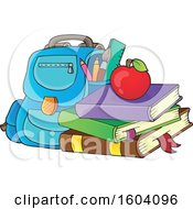 Clipart Of A Bag With Books And An Apple Royalty Free Vector Illustration