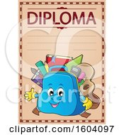 Clipart Of A School Bag Mascot On A Diploma Royalty Free Vector Illustration