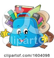 Clipart Of A School Bag Mascot Royalty Free Vector Illustration