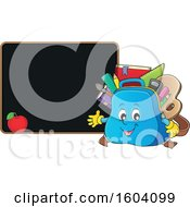 Clipart Of A School Bag Mascot By A Blackboard Royalty Free Vector Illustration