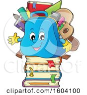Clipart Of A School Bag Mascot On A Stack Of Books Royalty Free Vector Illustration