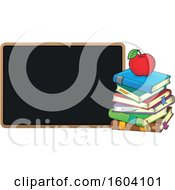 Clipart Of A Red Apple On A Stack Of Books By A Blackboard Royalty Free Vector Illustration