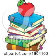 Clipart Of A Red Apple On A Stack Of Books Royalty Free Vector Illustration