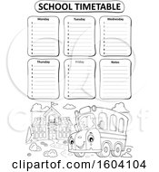 Poster, Art Print Of School Timetable With A Bus