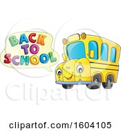 Clipart Of A Yellow Bus Saying Back To School Royalty Free Vector Illustration by visekart
