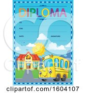 School Bus On A Diploma Certificate