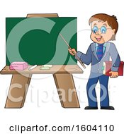White Male Teacher Presenting A Blank Chalkboard