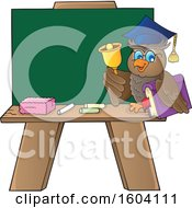 Poster, Art Print Of Professor Owl Teacher Ringing A Bell By A Chalkboard