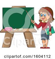 White Female Teacher Presenting A Blank Chalkboard