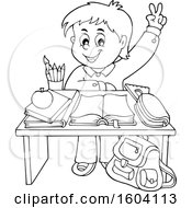Lineart School Boy Raising His Hand At His Desk