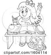 Lineart School Girl Raising Her Hand At Her Desk
