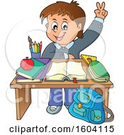Clipart Of A Caucasian School Boy Raising His Hand At His Desk Royalty Free Vector Illustration