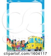 Poster, Art Print Of Border Of A Group Of Children Boarding A School Bus