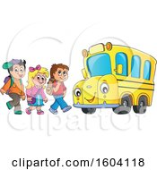 Group Of Children Boarding A School Bus