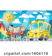Group Of Children Boarding A School Bus On A Sunny Morning