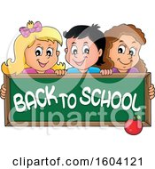 Group Of Children Holding A Back To School Chalkboard