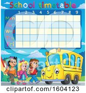 Poster, Art Print Of School Timetable With A Group Of Children Boarding A Bus