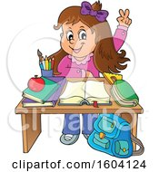 Clipart Of A Caucasian School Girl Raising Her Hand At Her Desk Royalty Free Vector Illustration by visekart